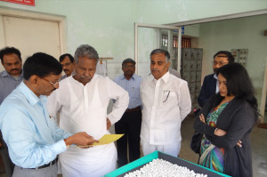 Hon'ble Union Minister of Textiles visiting the ISO 9001: 2008 certified Silkworm Seed Production Centre of  NSSO, CSB, Bangalore along with  Shri N. S. Bisse Gowda, Chairperson and  Smt. Ishita Roy, IAS, Member Secretary ,CSB, Bangalore.